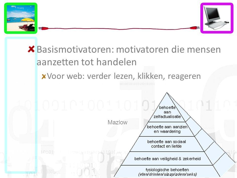 Basismotivatoren: motivatoren die mensen aanzetten tot handelen Voor web: verder lezen, klikken, reageren Mazlow