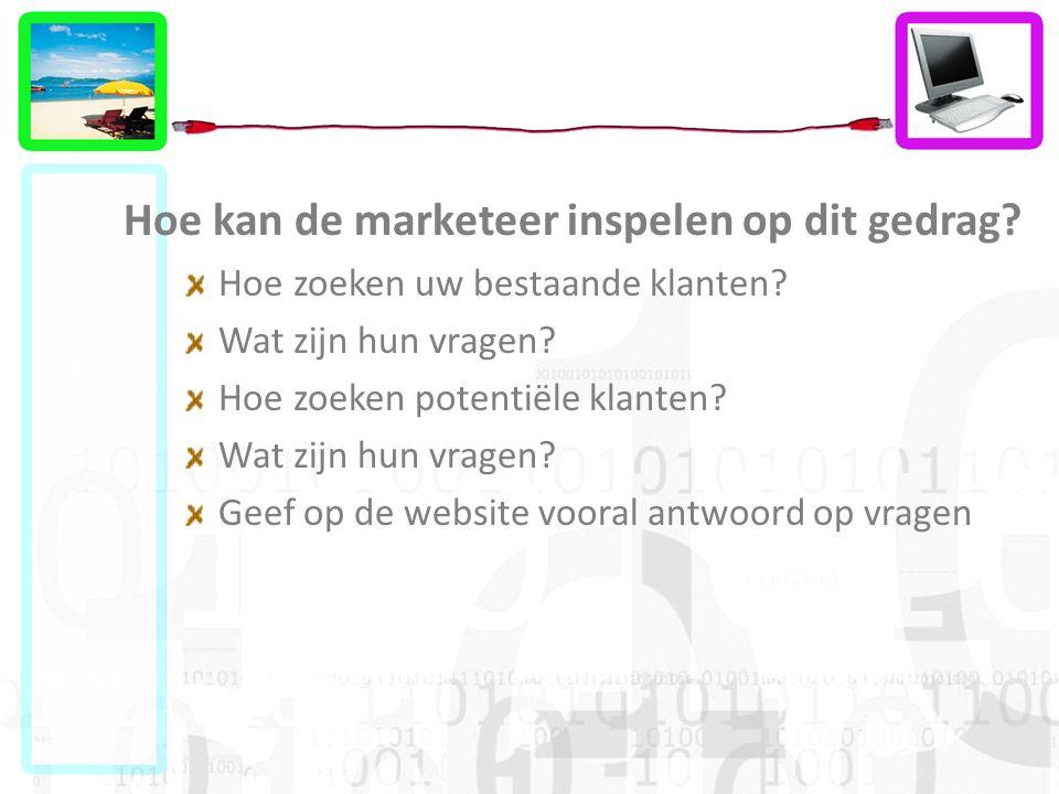 Hoe kan de marketeer inspelen op dit gedrag? Hoe zoeken uw bestaande klanten? Wat zijn hun vragen? Hoe zoeken potentiële klanten? Wat zijn hun vragen?