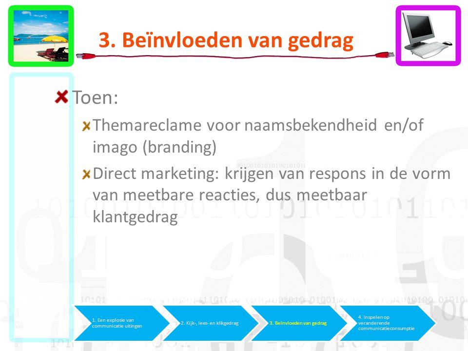 3. Beïnvloeden van gedrag Toen: Themareclame voor naamsbekendheid en/of imago (branding) Direct marketing: krijgen van respons in de vorm van meetbare