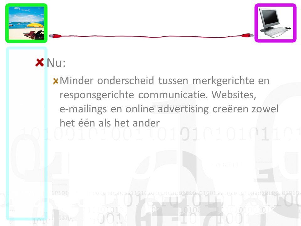 Nu: Minder onderscheid tussen merkgerichte en responsgerichte communicatie. Websites, e-mailings en online advertising creëren zowel het één als het a