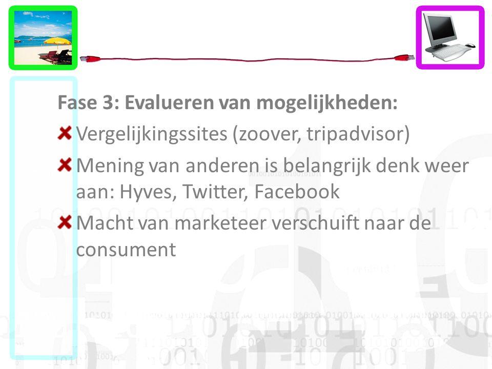 Fase 3: Evalueren van mogelijkheden: Vergelijkingssites (zoover, tripadvisor) Mening van anderen is belangrijk denk weer aan: Hyves, Twitter, Facebook Macht van marketeer verschuift naar de consument