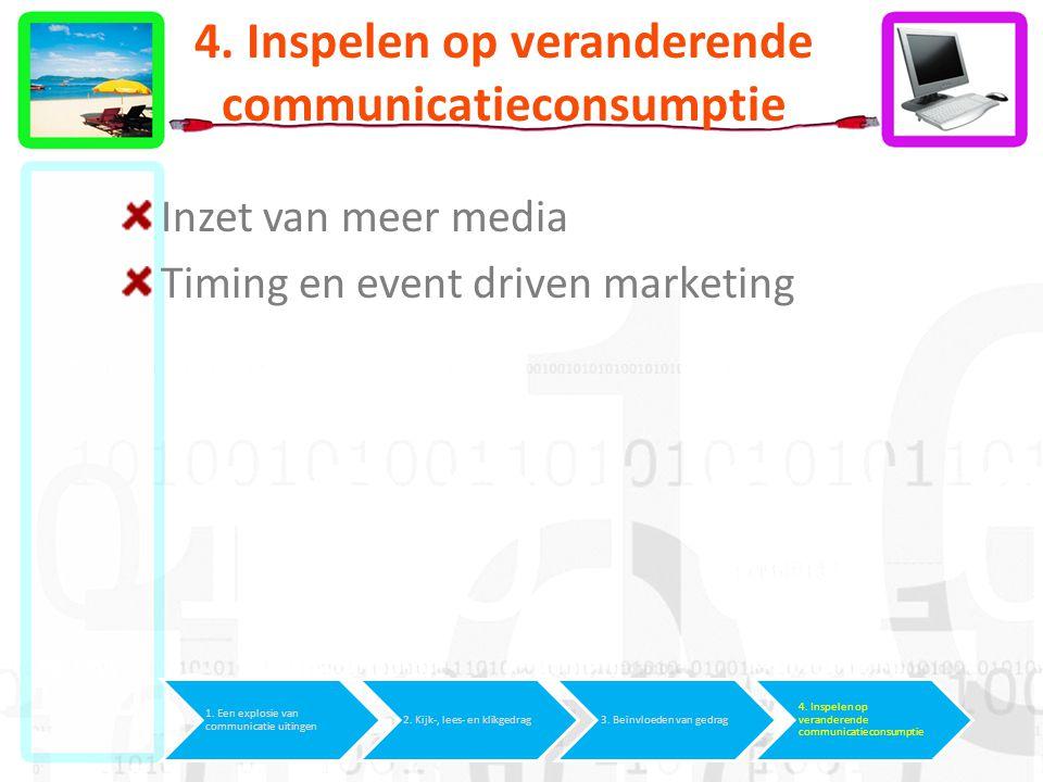 4. Inspelen op veranderende communicatieconsumptie Inzet van meer media Timing en event driven marketing 1. Een explosie van communicatie uitingen 2.