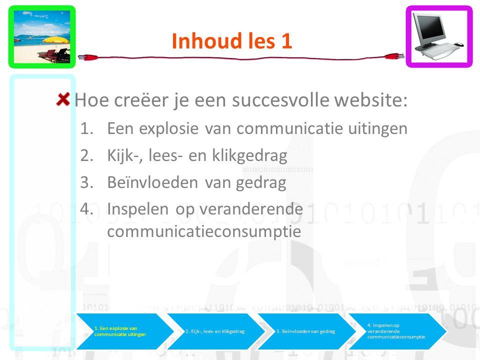 Inhoud les 1 Hoe creëer je een succesvolle website: 1.Een explosie van communicatie uitingen 2.Kijk-, lees- en klikgedrag 3.Beïnvloeden van gedrag 4.Inspelen op veranderende communicatieconsumptie 1.