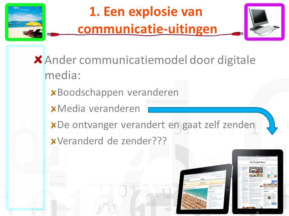 1. Een explosie van communicatie-uitingen Ander communicatiemodel door digitale media: Boodschappen veranderen Media veranderen De ontvanger verandert
