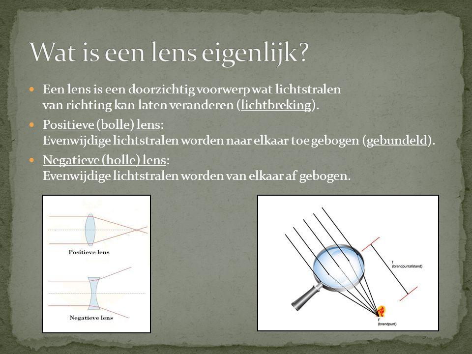 Een lens is een doorzichtig voorwerp wat lichtstralen van richting kan laten veranderen (lichtbreking). Positieve (bolle) lens: Evenwijdige lichtstral
