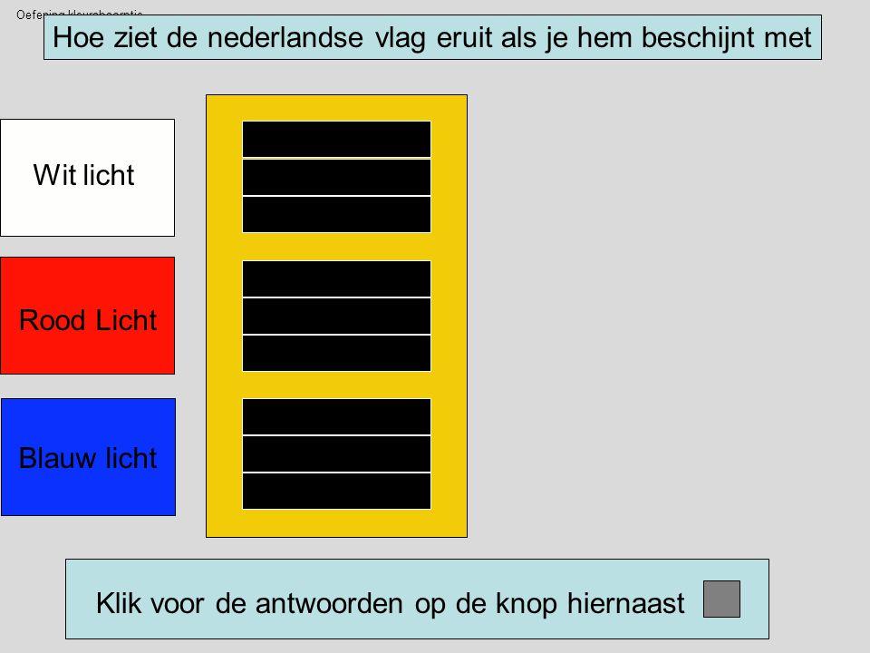 Oefening kleurabsorptie Hoe ziet de nederlandse vlag eruit als je hem beschijnt met Wit licht Rood Licht Blauw licht Klik voor de antwoorden op de knop hiernaast