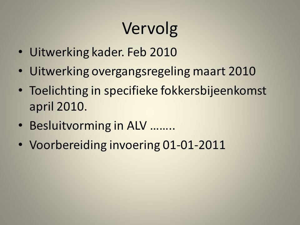 Vervolg Uitwerking kader. Feb 2010 Uitwerking overgangsregeling maart 2010 Toelichting in specifieke fokkersbijeenkomst april 2010. Besluitvorming in