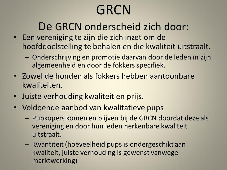 GRCN De GRCN onderscheid zich door: Een vereniging te zijn die zich inzet om de hoofddoelstelling te behalen en die kwaliteit uitstraalt.