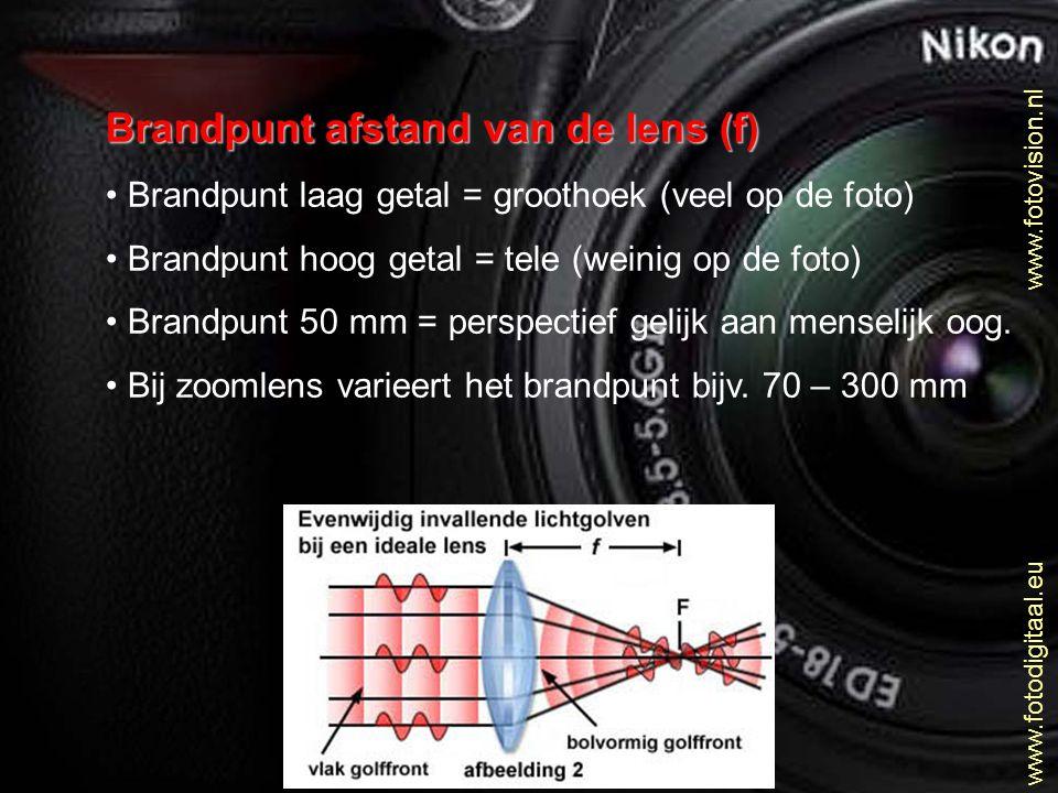 Brandpunt afstand van de lens (f) Brandpunt laag getal = groothoek (veel op de foto) Brandpunt hoog getal = tele (weinig op de foto) Brandpunt 50 mm =
