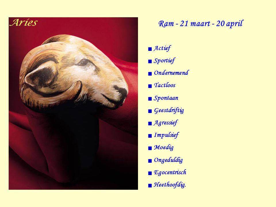 Ram - 21 maart - 20 april Actief Sportief Ondernemend Tactloos Spontaan Geestdriftig Agressief Impulsief Moedig Ongeduldig Egocentrisch Heethoofdig.
