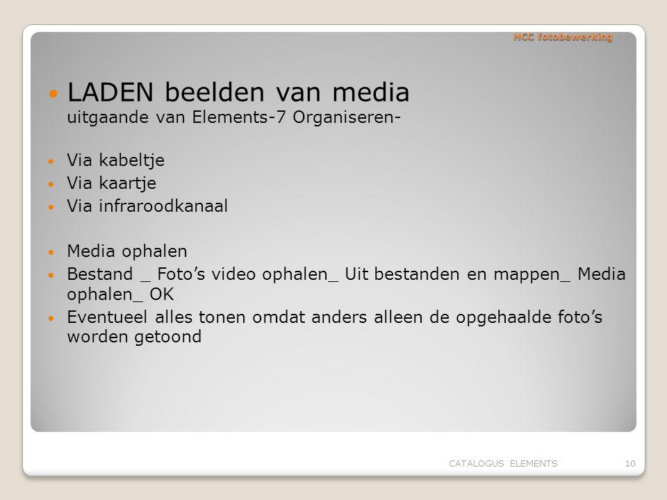 HCC fotobewerking LADEN beelden van media uitgaande van Elements-7 Organiseren- Via kabeltje Via kaartje Via infraroodkanaal Media ophalen Bestand _ F