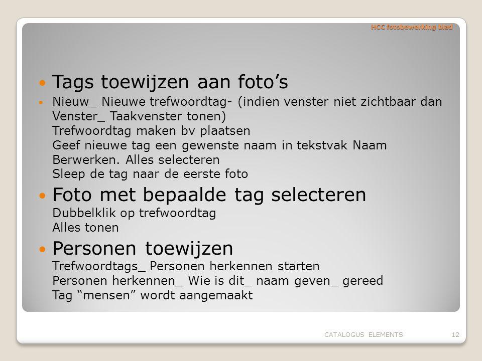 HCC fotobewerking blad Tags toewijzen aan foto's Nieuw_ Nieuwe trefwoordtag- (indien venster niet zichtbaar dan Venster_ Taakvenster tonen) Trefwoordt