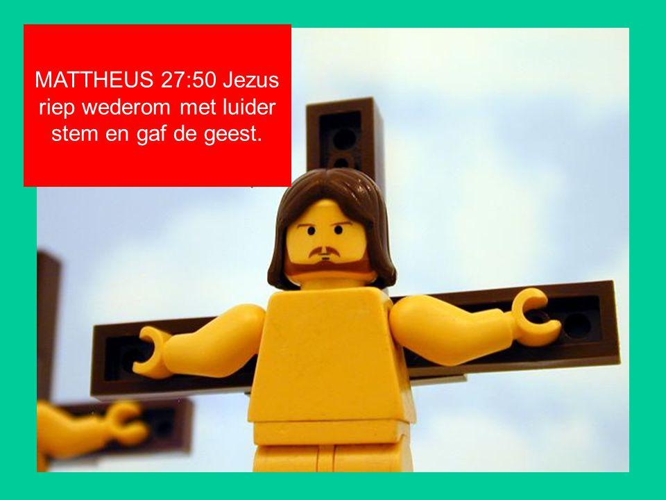 MATTHEUS 27:50 Jezus riep wederom met luider stem en gaf de geest.