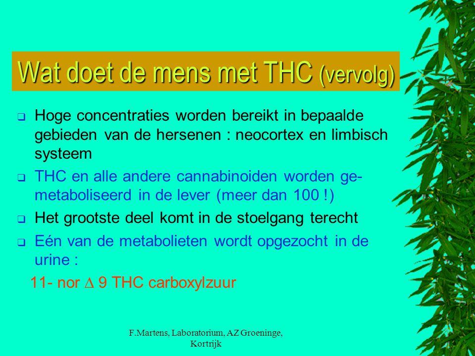 F.Martens, Laboratorium, AZ Groeninge, Kortrijk Wat doet de mens met THC (vervolg)  Hoge concentraties worden bereikt in bepaalde gebieden van de hersenen : neocortex en limbisch systeem  THC en alle andere cannabinoiden worden ge- metaboliseerd in de lever (meer dan 100 !)  Het grootste deel komt in de stoelgang terecht  Eén van de metabolieten wordt opgezocht in de urine : 11- nor  9 THC carboxylzuur