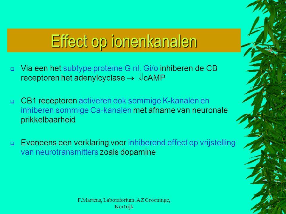 F.Martens, Laboratorium, AZ Groeninge, Kortrijk  Via een het subtype proteïne G nl. Gi/o inhiberen de CB receptoren het adenylcyclase   cAMP  CB1