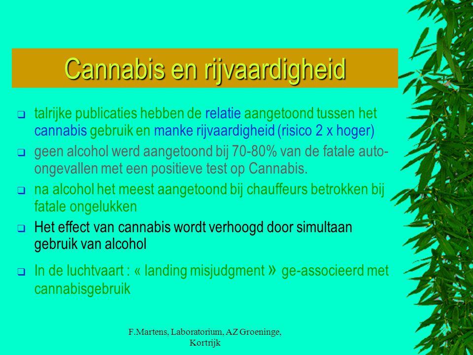 F.Martens, Laboratorium, AZ Groeninge, Kortrijk Cannabis en rijvaardigheid  talrijke publicaties hebben de relatie aangetoond tussen het cannabis geb