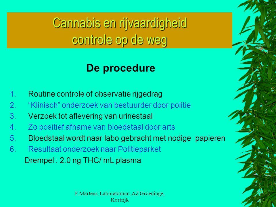 """F.Martens, Laboratorium, AZ Groeninge, Kortrijk De procedure 1.Routine controle of observatie rijgedrag 2.""""Klinisch"""" onderzoek van bestuurder door pol"""
