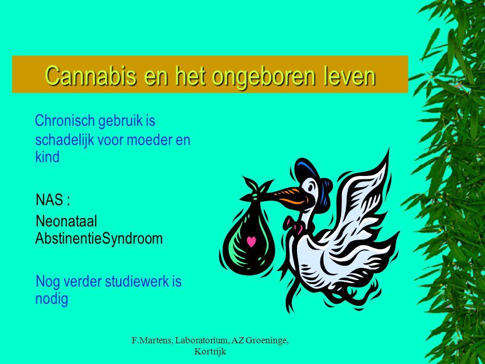 F.Martens, Laboratorium, AZ Groeninge, Kortrijk Cannabis en het ongeboren leven Chronisch gebruik is schadelijk voor moeder en kind NAS : Neonataal AbstinentieSyndroom Nog verder studiewerk is nodig