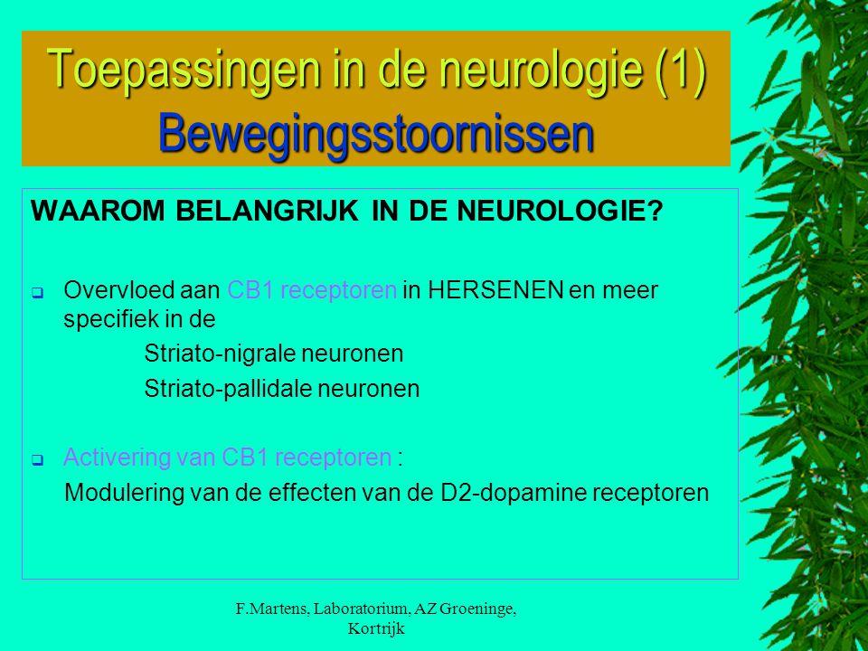 F.Martens, Laboratorium, AZ Groeninge, Kortrijk WAAROM BELANGRIJK IN DE NEUROLOGIE?  Overvloed aan CB1 receptoren in HERSENEN en meer specifiek in de