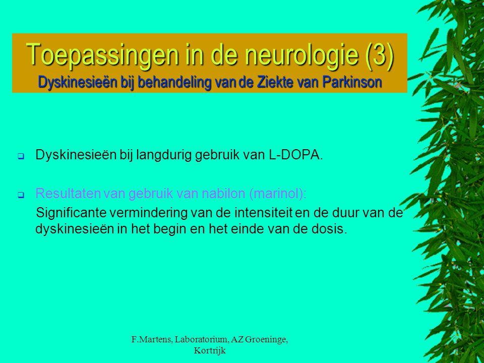 F.Martens, Laboratorium, AZ Groeninge, Kortrijk  Dyskinesieën bij langdurig gebruik van L-DOPA.  Resultaten van gebruik van nabilon (marinol): Signi