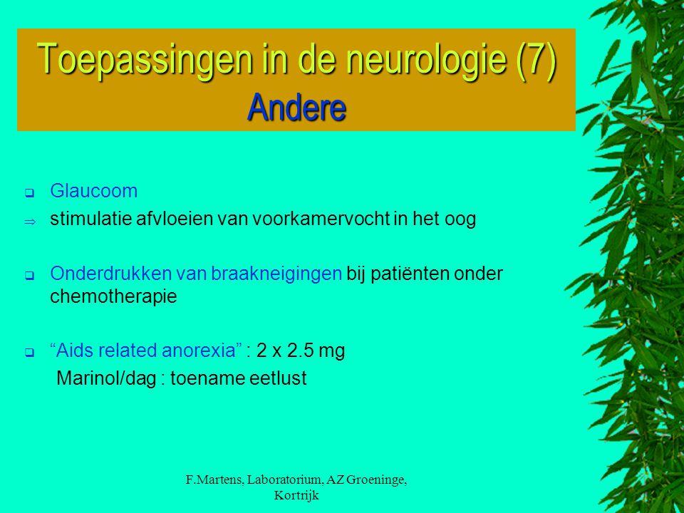 F.Martens, Laboratorium, AZ Groeninge, Kortrijk  Glaucoom  stimulatie afvloeien van voorkamervocht in het oog  Onderdrukken van braakneigingen bij patiënten onder chemotherapie  Aids related anorexia : 2 x 2.5 mg Marinol/dag : toename eetlust Toepassingen in de neurologie (7) Andere