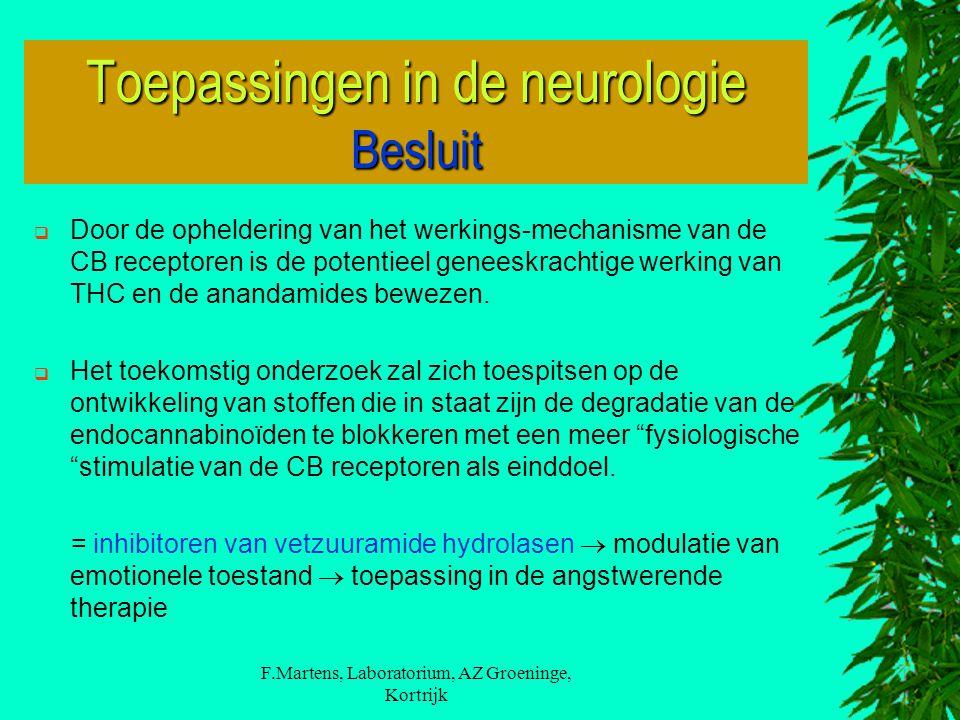 F.Martens, Laboratorium, AZ Groeninge, Kortrijk  Door de opheldering van het werkings-mechanisme van de CB receptoren is de potentieel geneeskrachtige werking van THC en de anandamides bewezen.