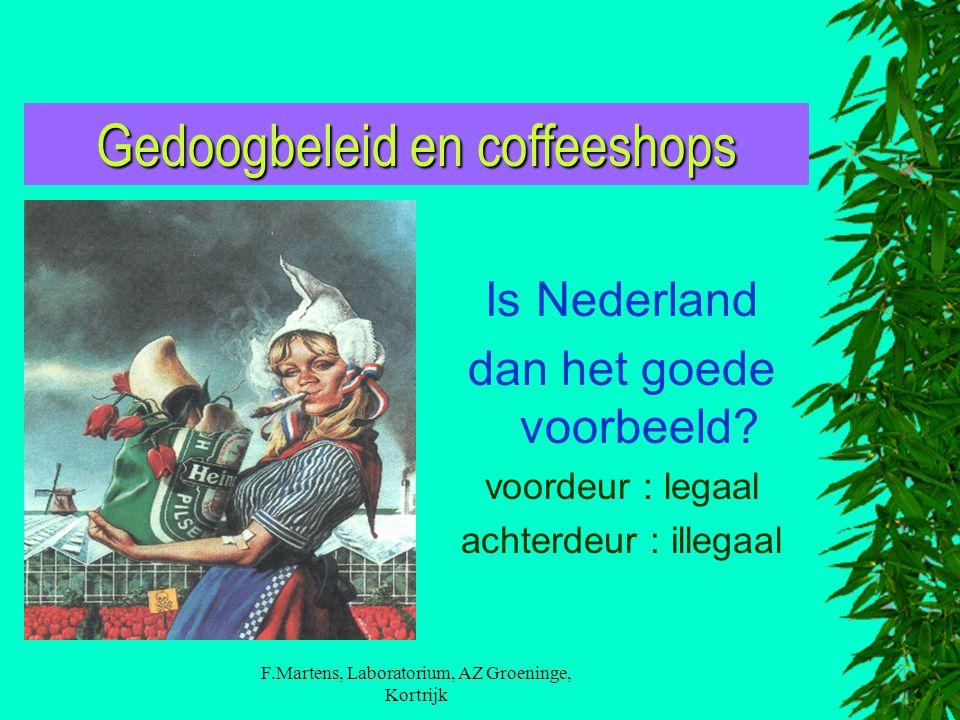 F.Martens, Laboratorium, AZ Groeninge, Kortrijk Gedoogbeleid en coffeeshops Is Nederland dan het goede voorbeeld? voordeur : legaal achterdeur : illeg