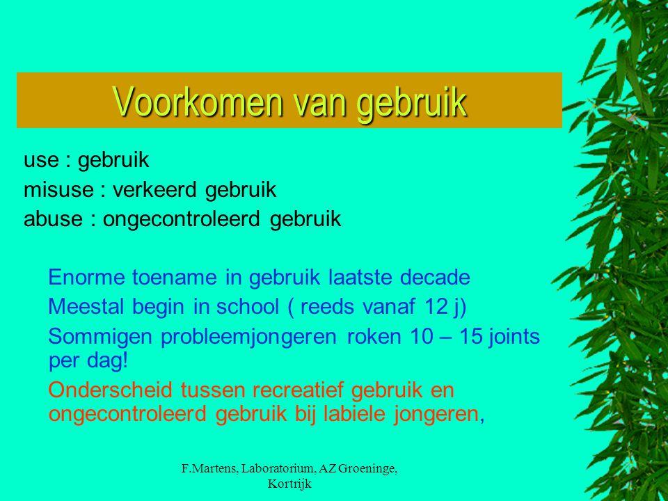F.Martens, Laboratorium, AZ Groeninge, Kortrijk Voorkomen van gebruik use : gebruik misuse : verkeerd gebruik abuse : ongecontroleerd gebruik Enorme t