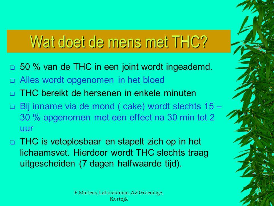 F.Martens, Laboratorium, AZ Groeninge, Kortrijk Wat doet de mens met THC?  50 % van de THC in een joint wordt ingeademd.  Alles wordt opgenomen in h