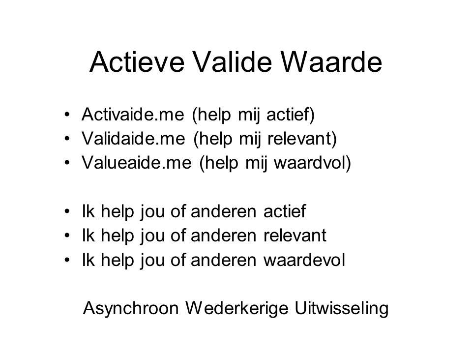 Actieve Valide Waarde Activaide.me (help mij actief) Validaide.me (help mij relevant) Valueaide.me (help mij waardvol) Ik help jou of anderen actief Ik help jou of anderen relevant Ik help jou of anderen waardevol Asynchroon Wederkerige Uitwisseling