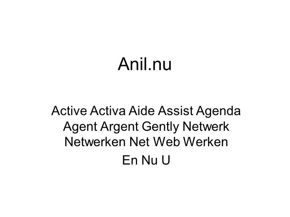 Anil.nu Active Activa Aide Assist Agenda Agent Argent Gently Netwerk Netwerken Net Web Werken En Nu U