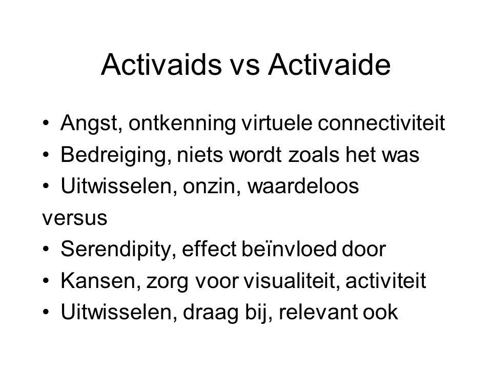 Activaids vs Activaide Angst, ontkenning virtuele connectiviteit Bedreiging, niets wordt zoals het was Uitwisselen, onzin, waardeloos versus Serendipity, effect beïnvloed door Kansen, zorg voor visualiteit, activiteit Uitwisselen, draag bij, relevant ook