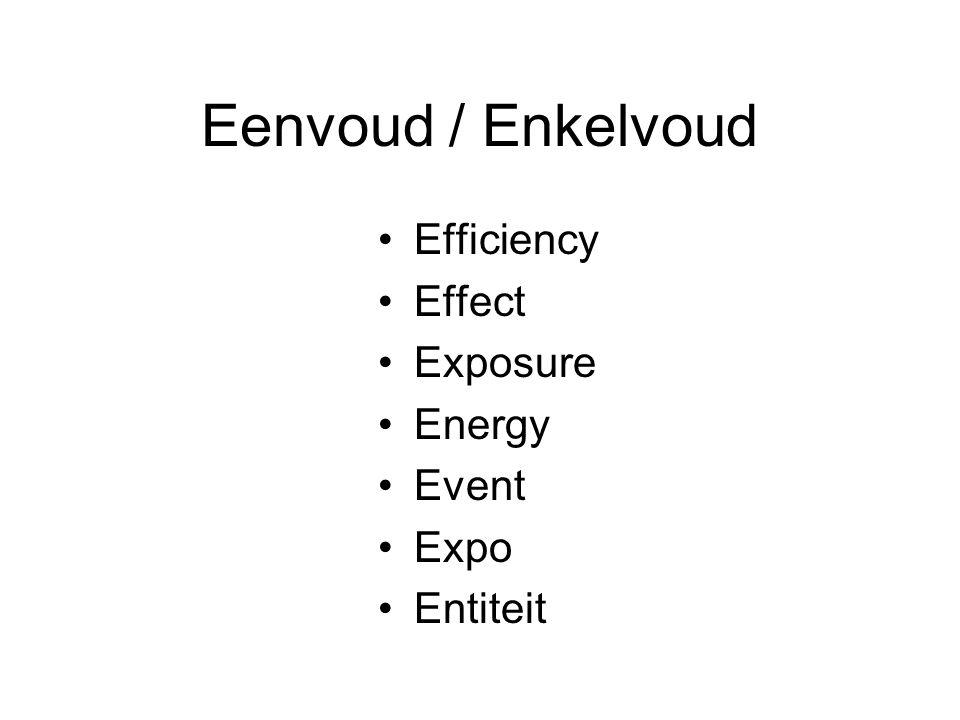 Eenvoud / Enkelvoud Efficiency Effect Exposure Energy Event Expo Entiteit