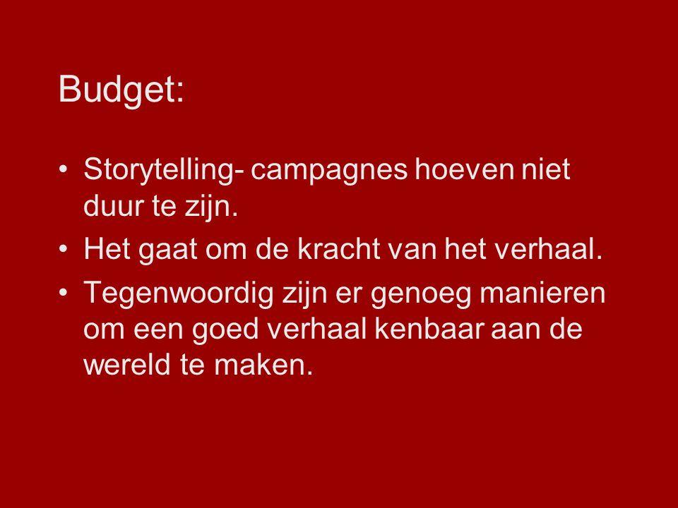 Budget: Storytelling- campagnes hoeven niet duur te zijn. Het gaat om de kracht van het verhaal. Tegenwoordig zijn er genoeg manieren om een goed verh