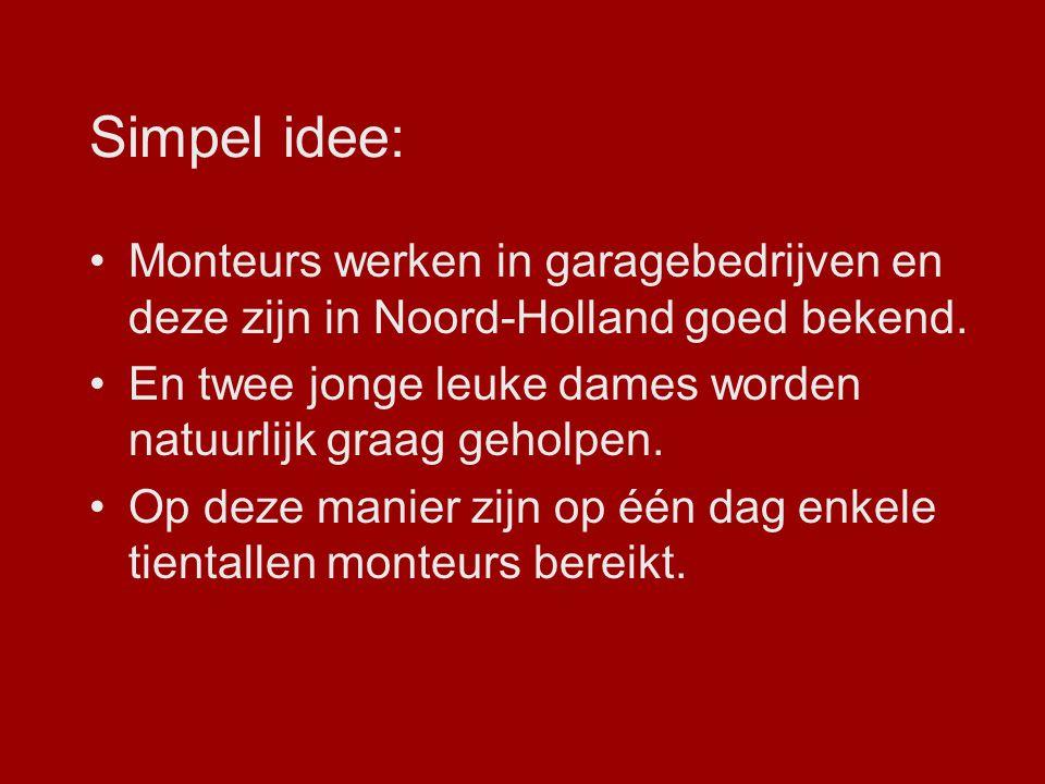 Simpel idee: Monteurs werken in garagebedrijven en deze zijn in Noord-Holland goed bekend. En twee jonge leuke dames worden natuurlijk graag geholpen.