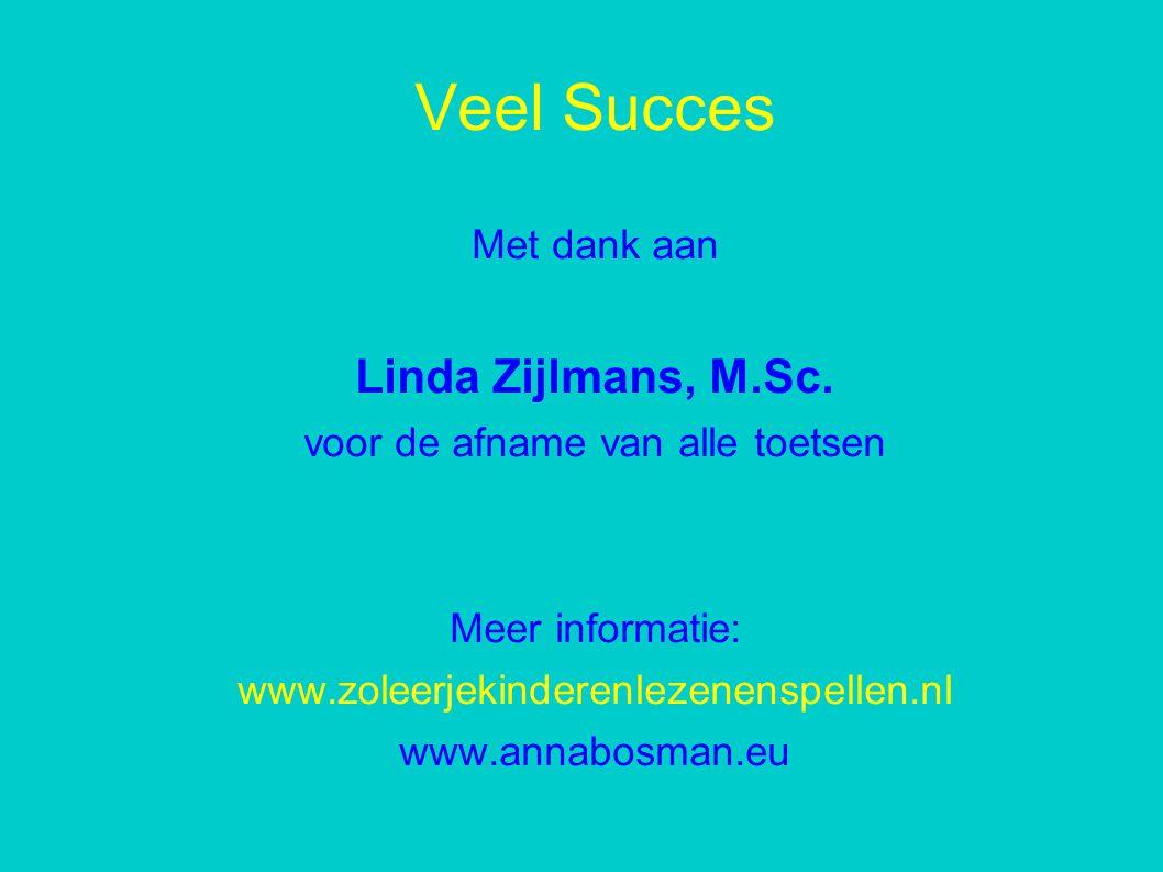 Veel Succes Met dank aan Linda Zijlmans, M.Sc.