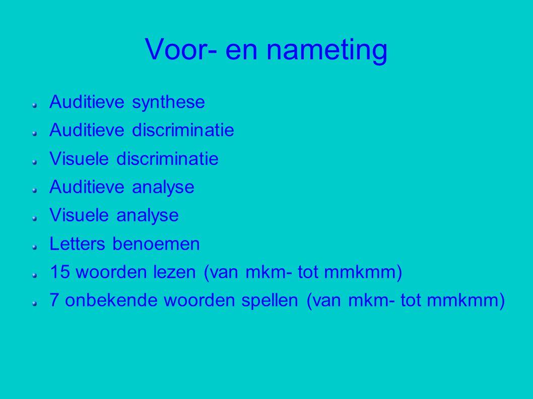 Voor- en nameting Auditieve synthese Auditieve discriminatie Visuele discriminatie Auditieve analyse Visuele analyse Letters benoemen 15 woorden lezen (van mkm- tot mmkmm) 7 onbekende woorden spellen (van mkm- tot mmkmm)