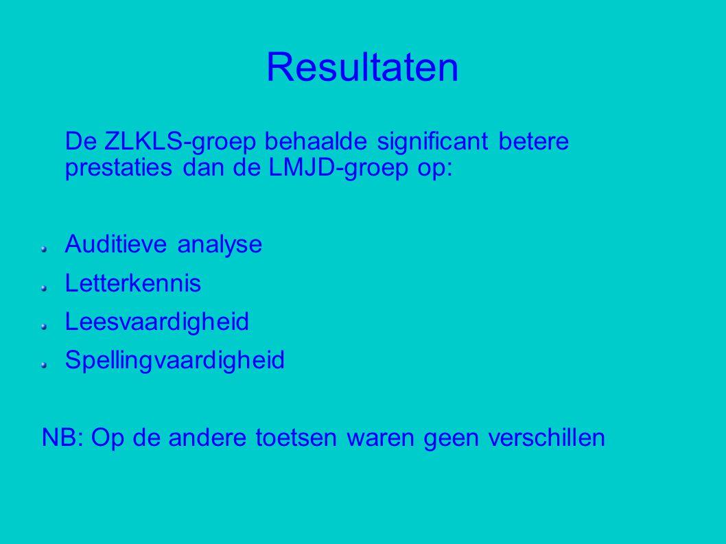 Resultaten De ZLKLS-groep behaalde significant betere prestaties dan de LMJD-groep op: Auditieve analyse Letterkennis Leesvaardigheid Spellingvaardigheid NB: Op de andere toetsen waren geen verschillen