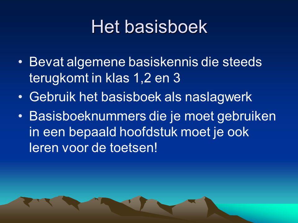 Het basisboek Bevat algemene basiskennis die steeds terugkomt in klas 1,2 en 3 Gebruik het basisboek als naslagwerk Basisboeknummers die je moet gebru