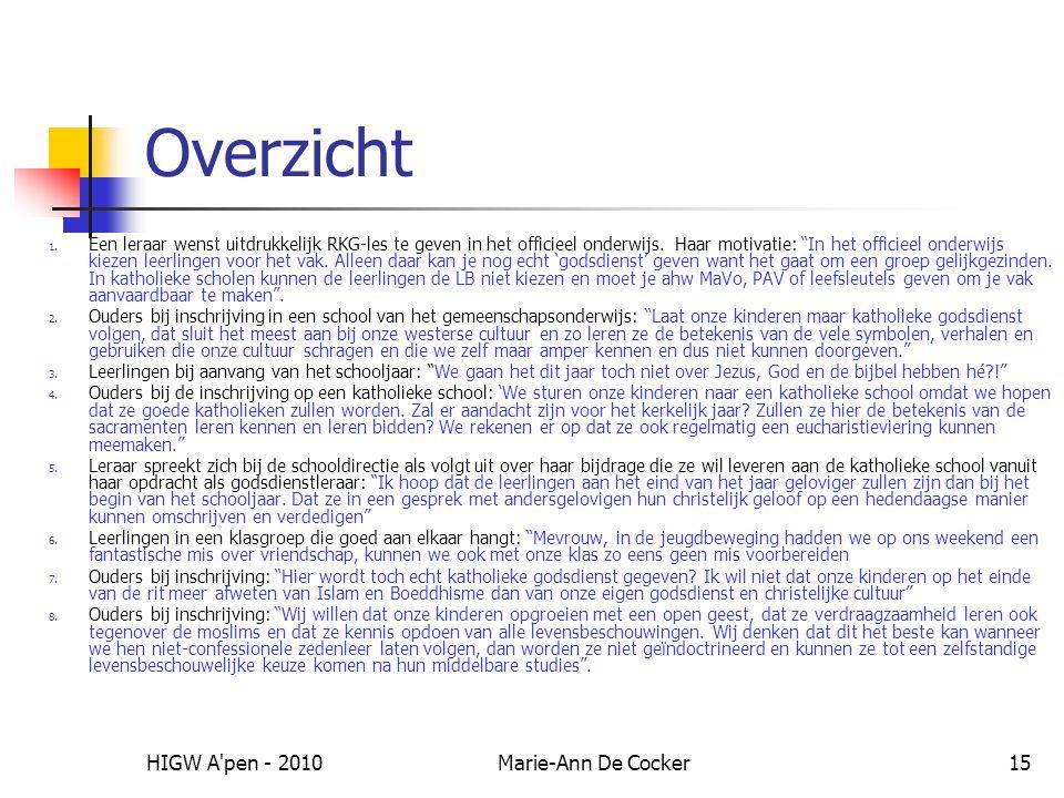 HIGW A pen - 2010Marie-Ann De Cocker15 Overzicht 1.