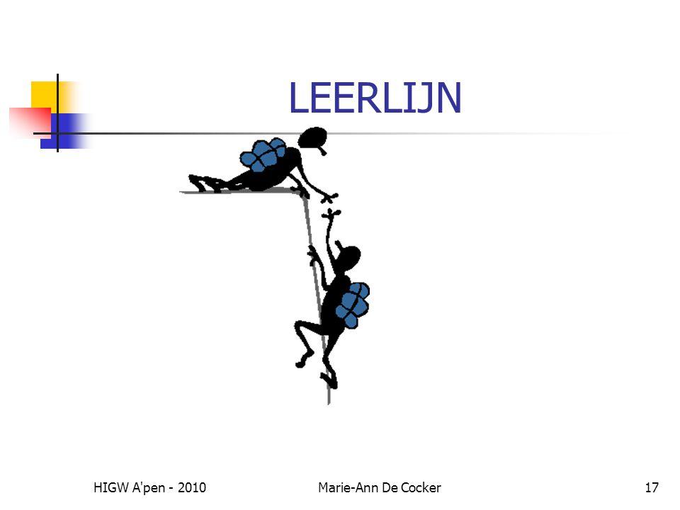 HIGW A pen - 2010Marie-Ann De Cocker17 LEERLIJN