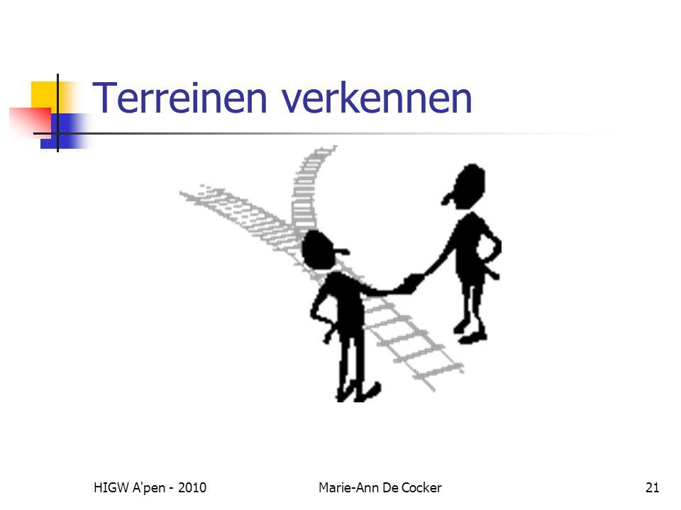 HIGW A pen - 2010Marie-Ann De Cocker21 Terreinen verkennen