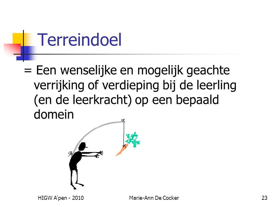 HIGW A pen - 2010Marie-Ann De Cocker23 Terreindoel = Een wenselijke en mogelijk geachte verrijking of verdieping bij de leerling (en de leerkracht) op een bepaald domein