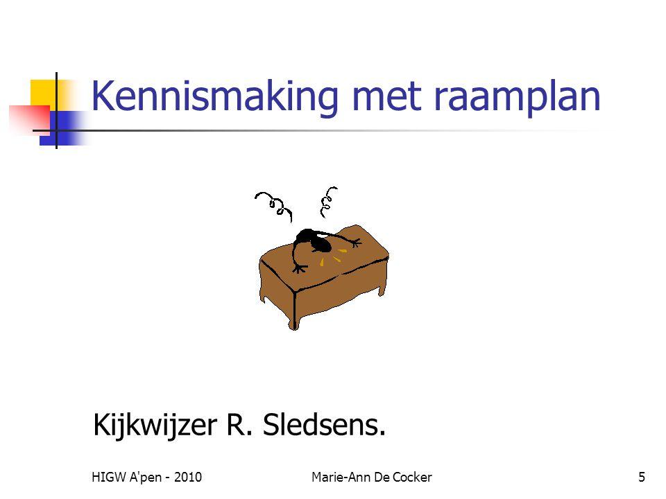 HIGW A pen - 2010Marie-Ann De Cocker5 Kennismaking met raamplan Kijkwijzer R. Sledsens.