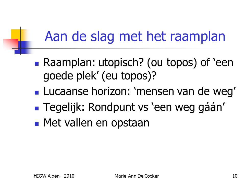 HIGW A'pen - 2010Marie-Ann De Cocker10 Aan de slag met het raamplan Raamplan: utopisch? (ou topos) of 'een goede plek' (eu topos)? Lucaanse horizon: '