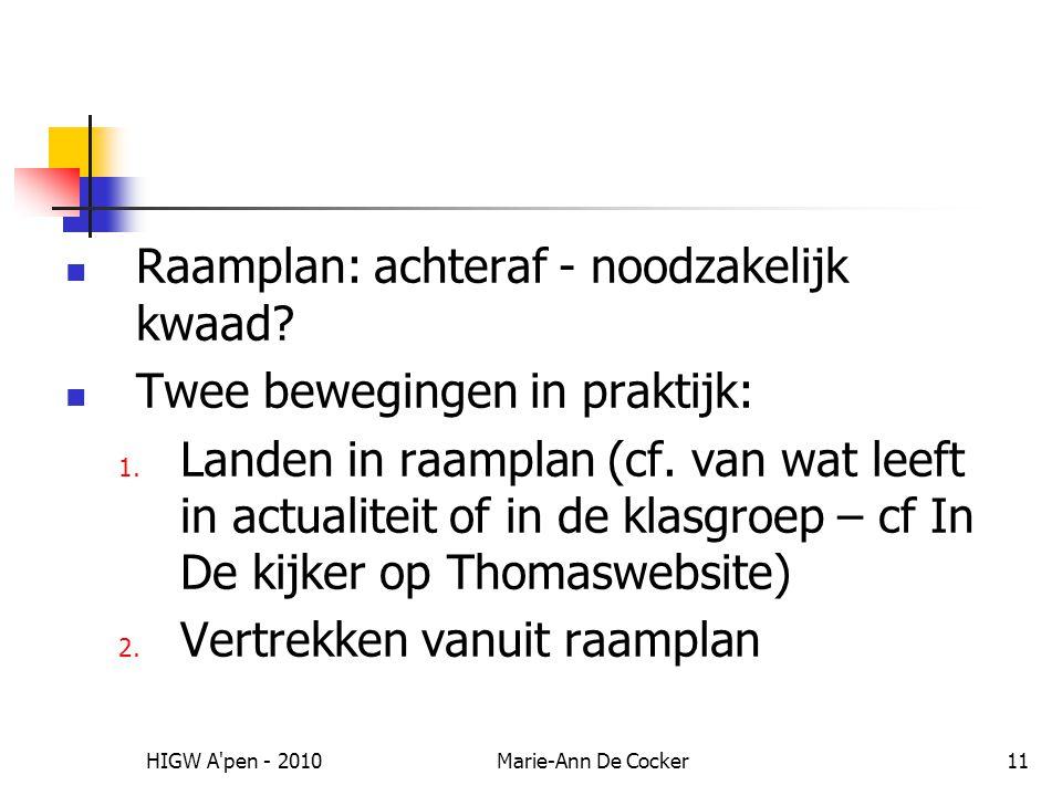 HIGW A'pen - 2010Marie-Ann De Cocker11 Raamplan: achteraf - noodzakelijk kwaad? Twee bewegingen in praktijk: 1. Landen in raamplan (cf. van wat leeft