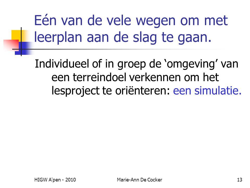 HIGW A'pen - 2010Marie-Ann De Cocker13 Eén van de vele wegen om met leerplan aan de slag te gaan. Individueel of in groep de 'omgeving' van een terrei