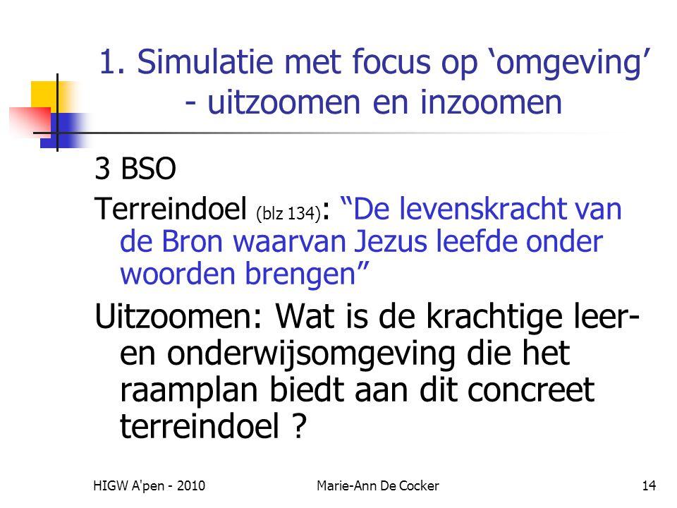 """HIGW A'pen - 2010Marie-Ann De Cocker14 1. Simulatie met focus op 'omgeving' - uitzoomen en inzoomen 3 BSO Terreindoel (blz 134) : """"De levenskracht van"""
