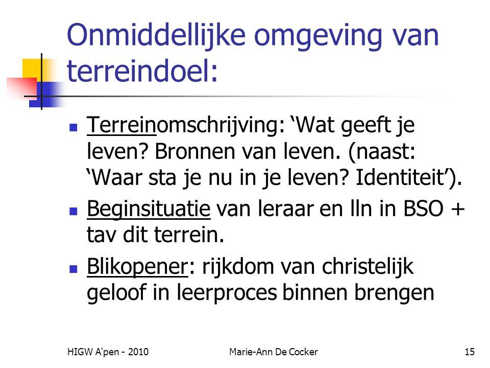 HIGW A'pen - 2010Marie-Ann De Cocker15 Onmiddellijke omgeving van terreindoel: Terreinomschrijving: 'Wat geeft je leven? Bronnen van leven. (naast: 'W