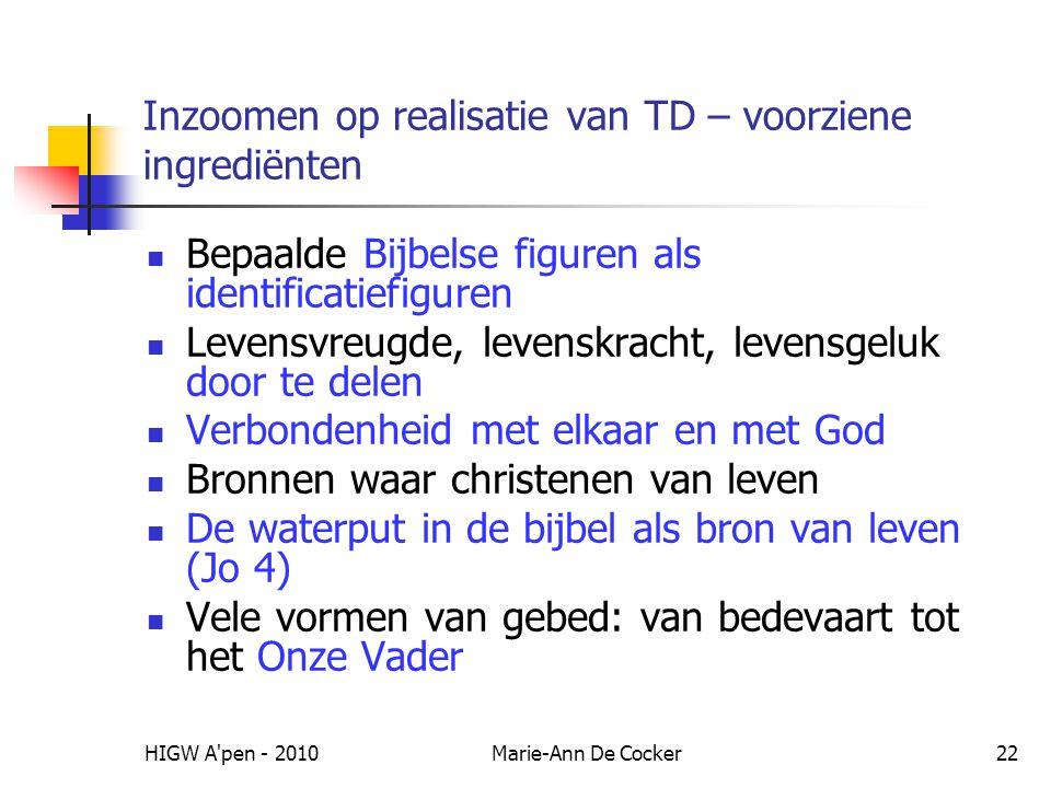 HIGW A'pen - 2010Marie-Ann De Cocker22 Inzoomen op realisatie van TD – voorziene ingrediënten Bepaalde Bijbelse figuren als identificatiefiguren Leven